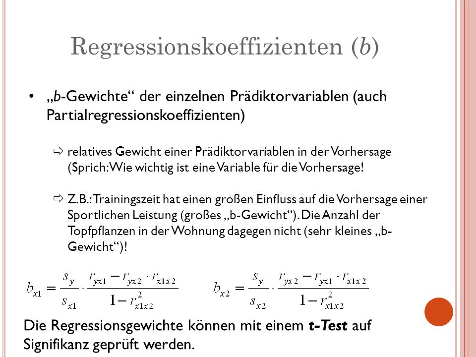Regressionskoeffizienten (b)