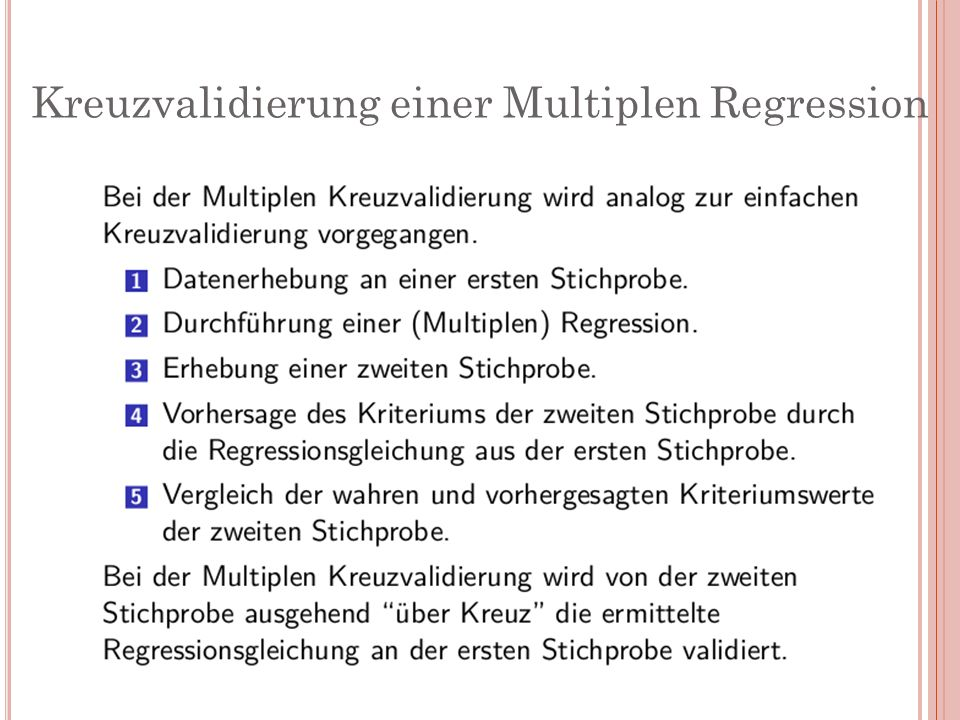 Kreuzvalidierung einer Multiplen Regression