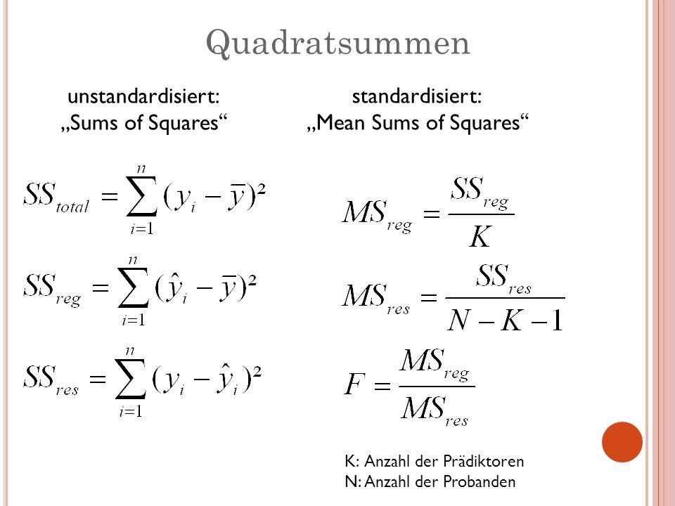 """Quadratsummen unstandardisiert: """"Sums of Squares"""
