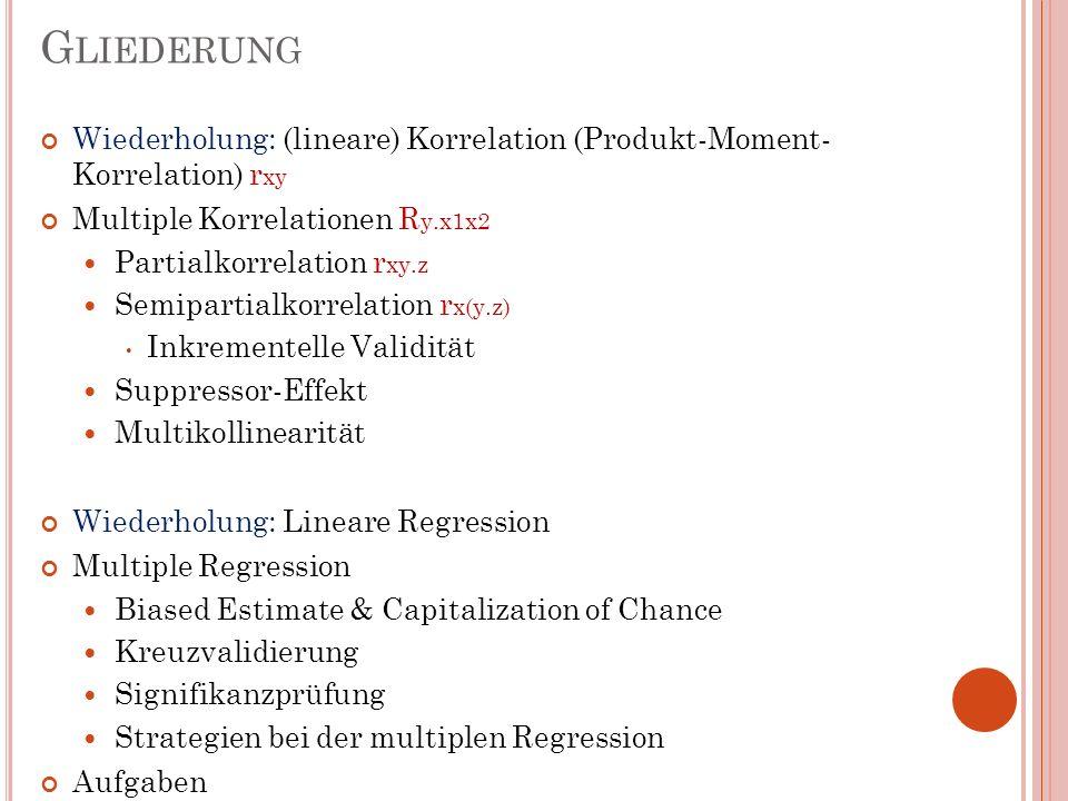 Gliederung Wiederholung: (lineare) Korrelation (Produkt-Moment- Korrelation) rxy. Multiple Korrelationen Ry.x1x2.