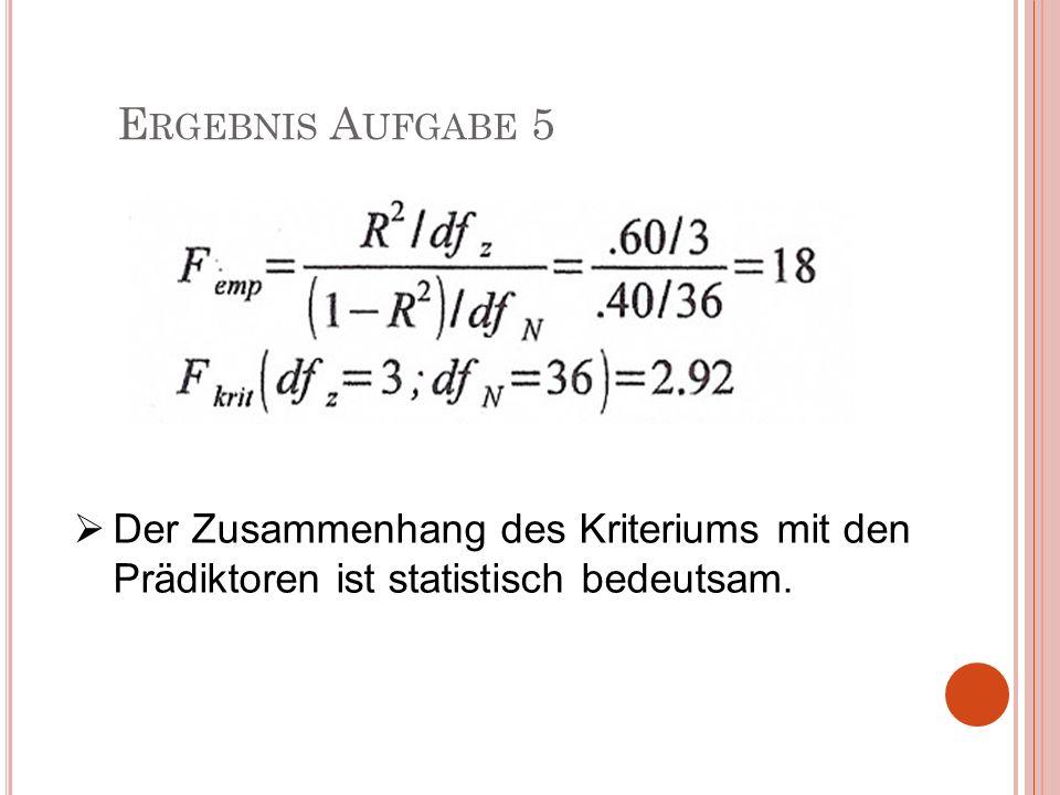 Ergebnis Aufgabe 5 Der Zusammenhang des Kriteriums mit den Prädiktoren ist statistisch bedeutsam.