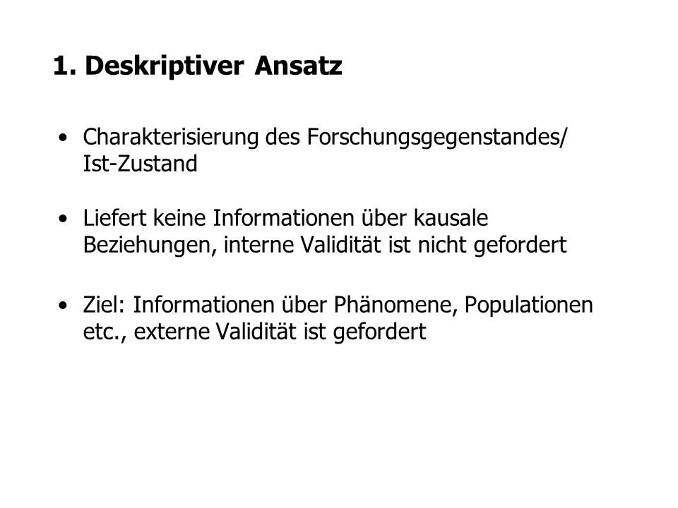 1. Deskriptiver Ansatz Charakterisierung des Forschungsgegenstandes/ Ist-Zustand.