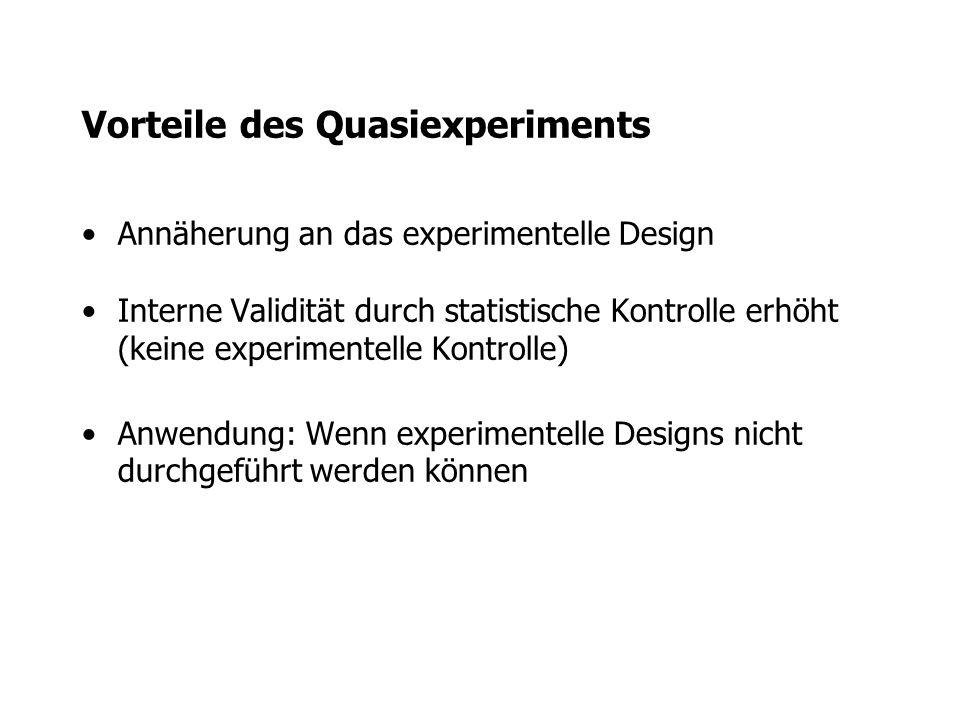 Vorteile des Quasiexperiments