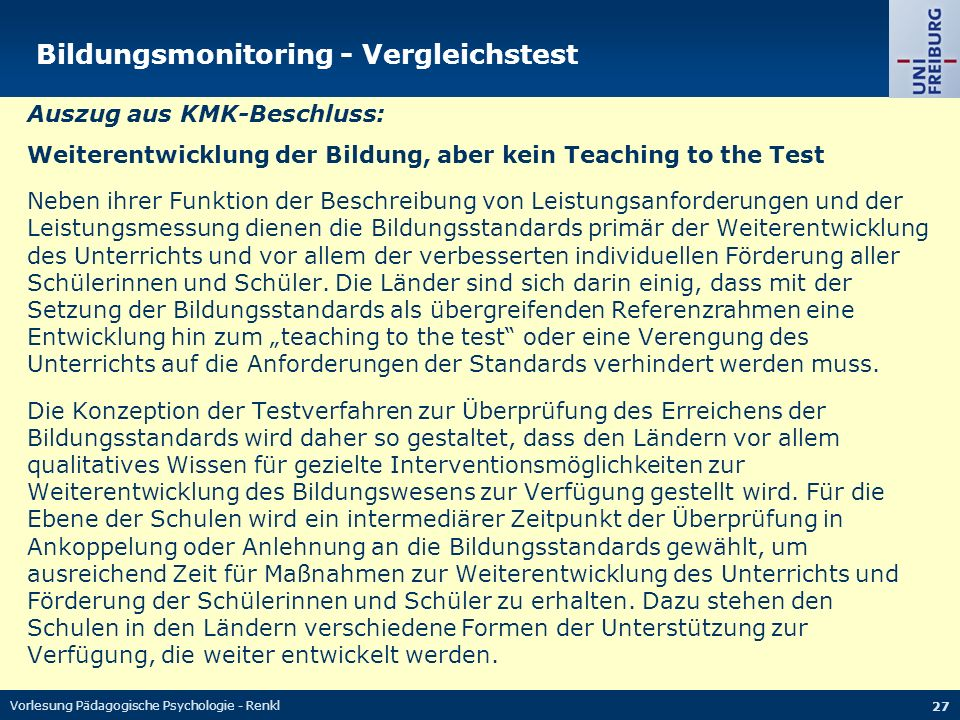 Bildungsmonitoring - Vergleichstest