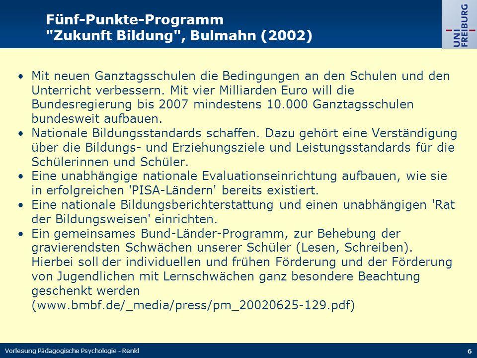 Fünf-Punkte-Programm Zukunft Bildung , Bulmahn (2002)