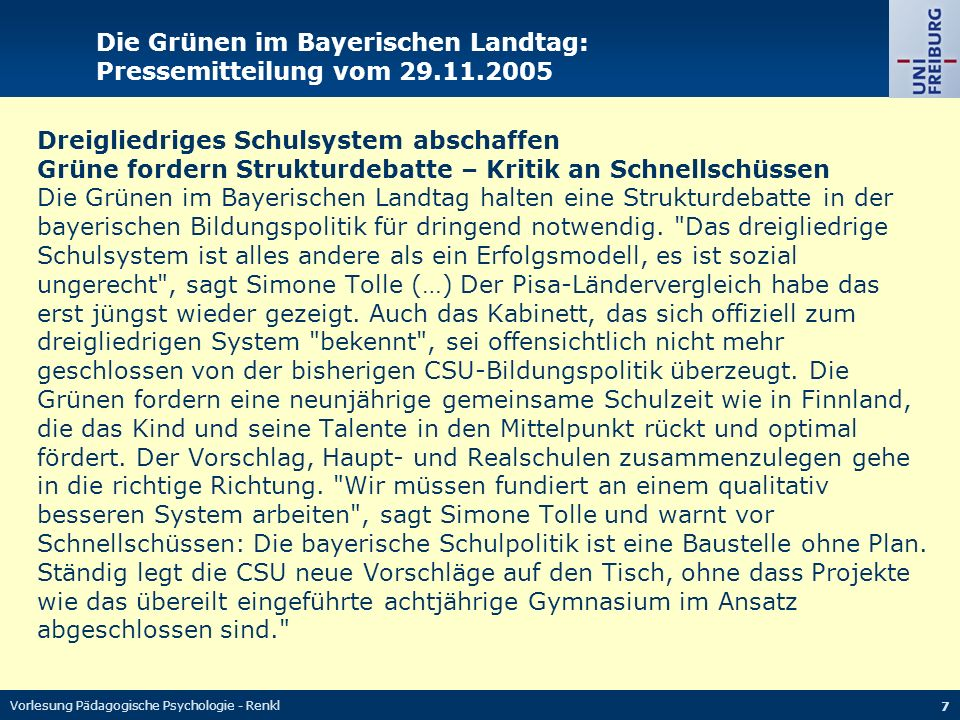 Die Grünen im Bayerischen Landtag: Pressemitteilung vom 29.11.2005
