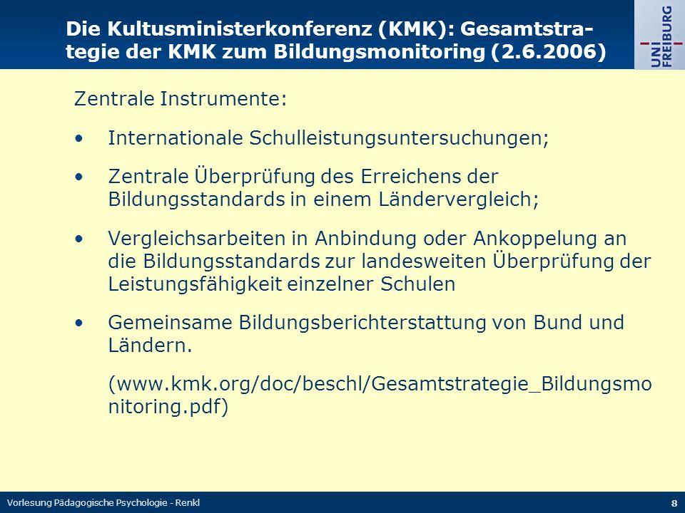 Zentrale Instrumente: Internationale Schulleistungsuntersuchungen;