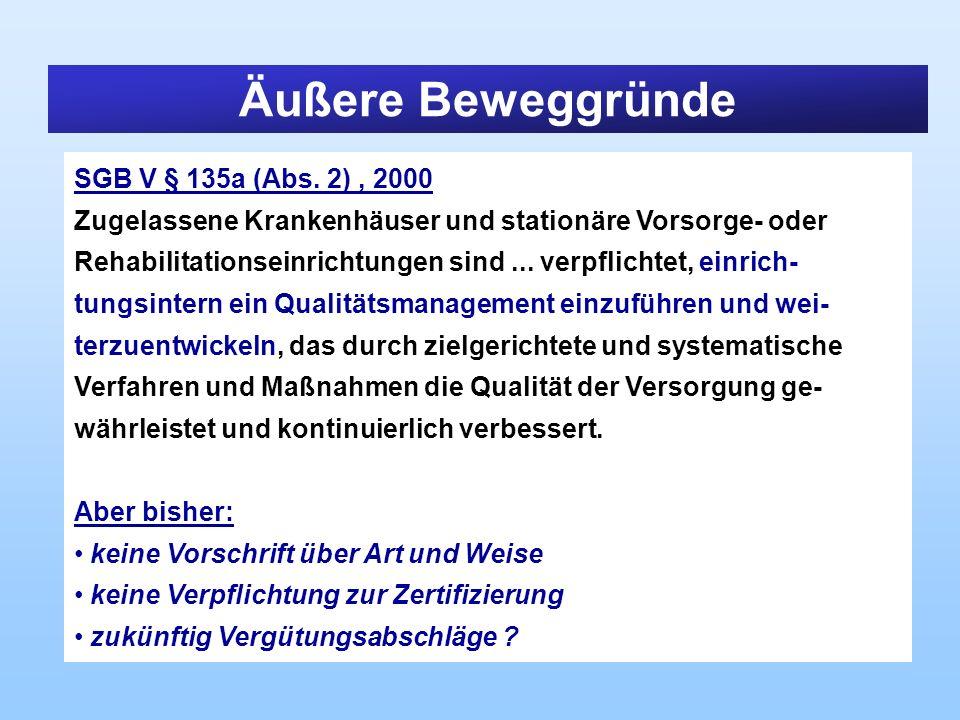 Äußere Beweggründe SGB V § 135a (Abs. 2) , 2000