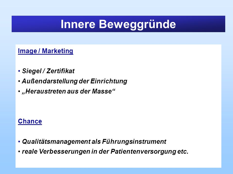 Innere Beweggründe Image / Marketing Siegel / Zertifikat