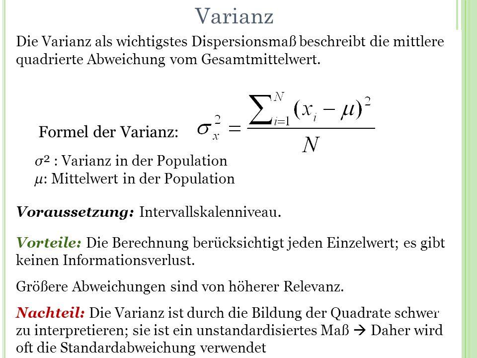 Varianz Formel der Varianz: