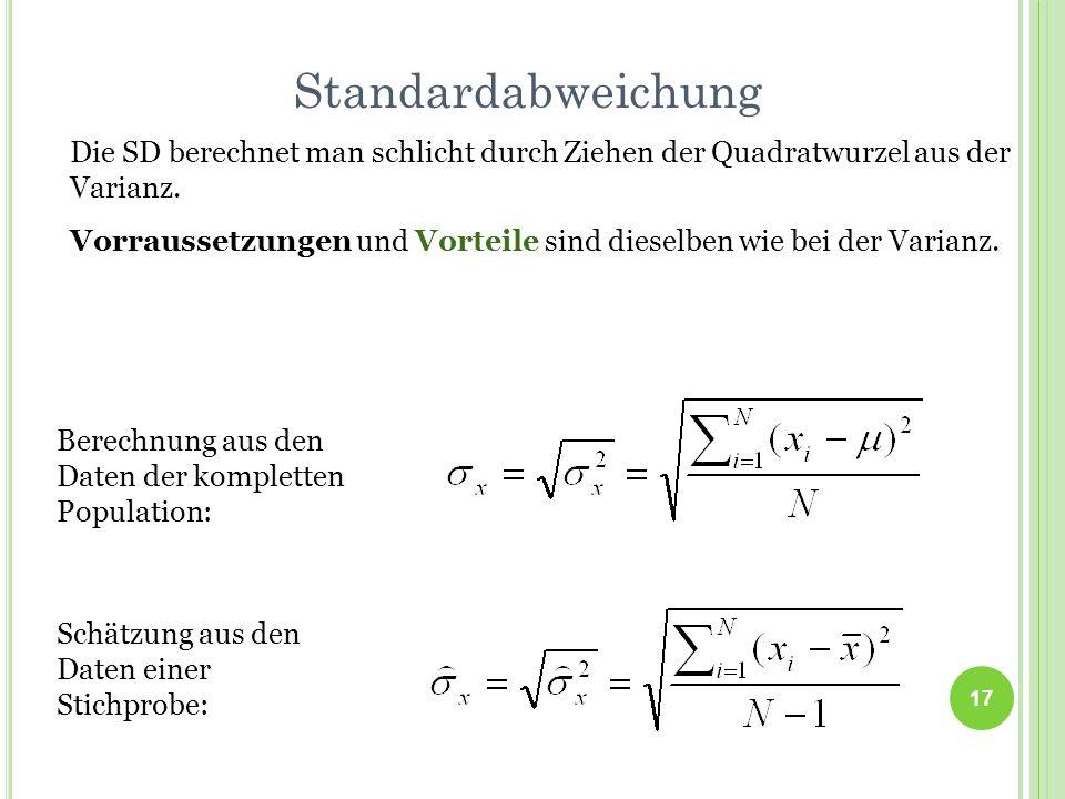 StandardabweichungDie SD berechnet man schlicht durch Ziehen der Quadratwurzel aus der Varianz.