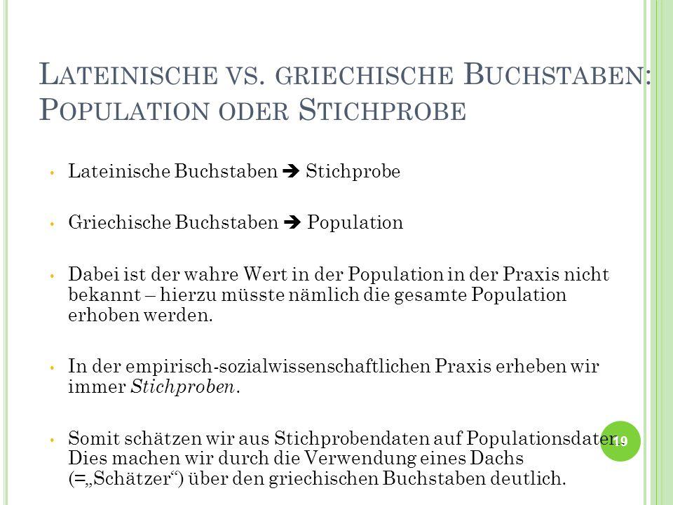 Lateinische vs. griechische Buchstaben: Population oder Stichprobe