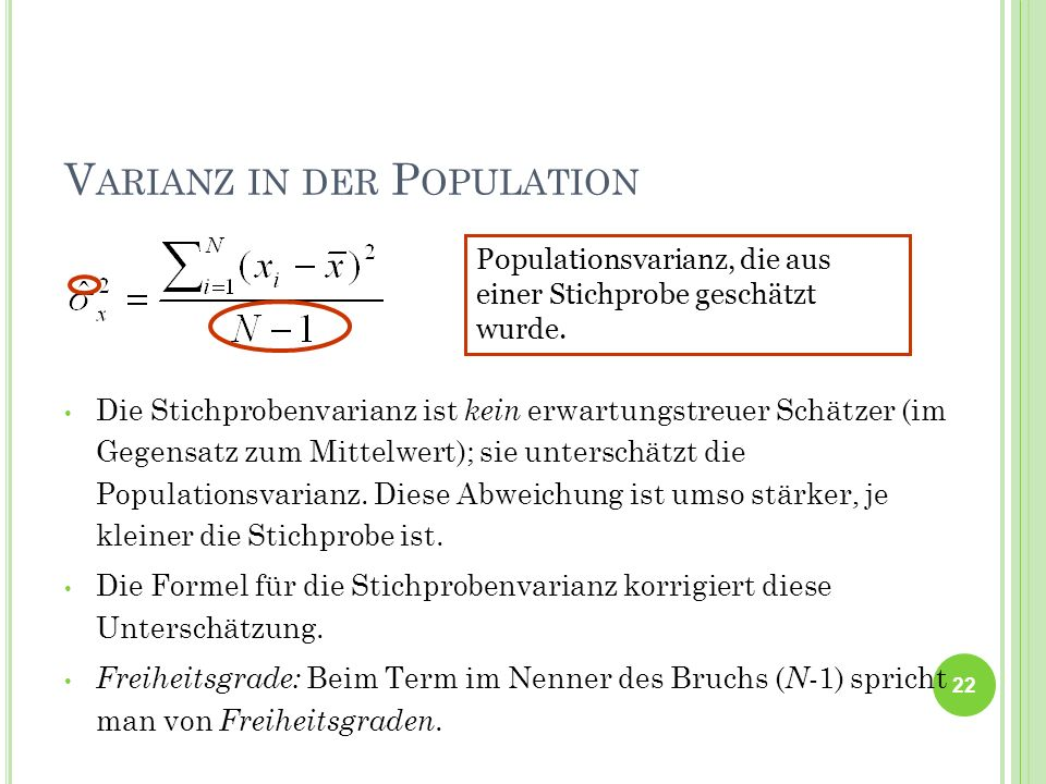 Varianz in der Population