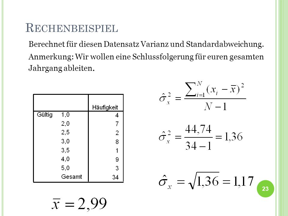 Berechnet für diesen Datensatz Varianz und Standardabweichung.