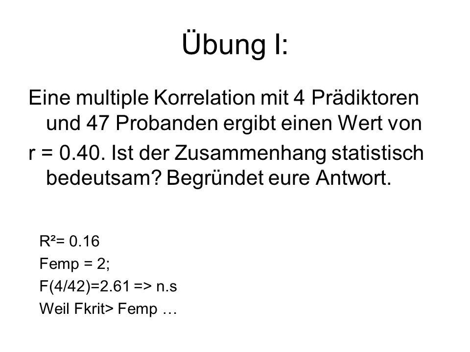 Übung I: Eine multiple Korrelation mit 4 Prädiktoren und 47 Probanden ergibt einen Wert von.