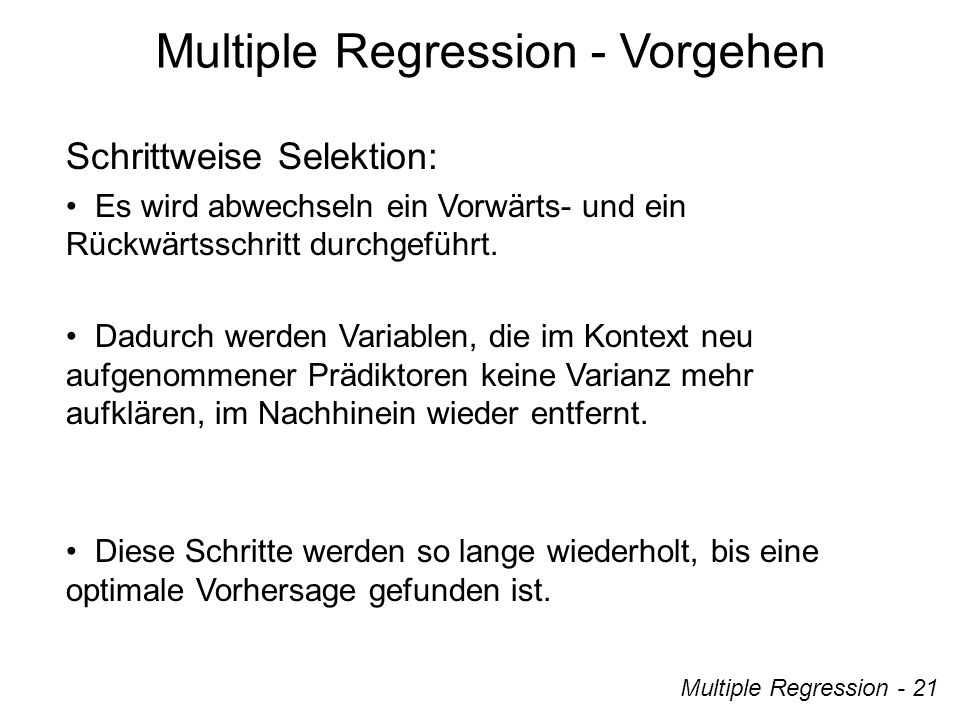 Multiple Regression - Vorgehen