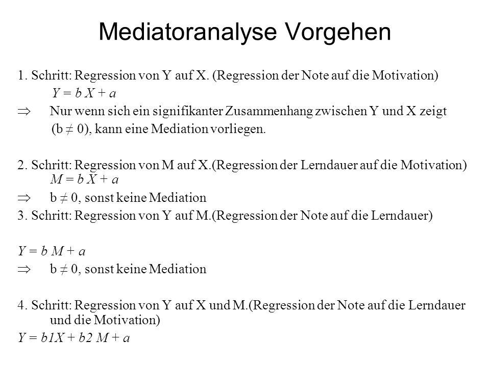 Mediatoranalyse Vorgehen