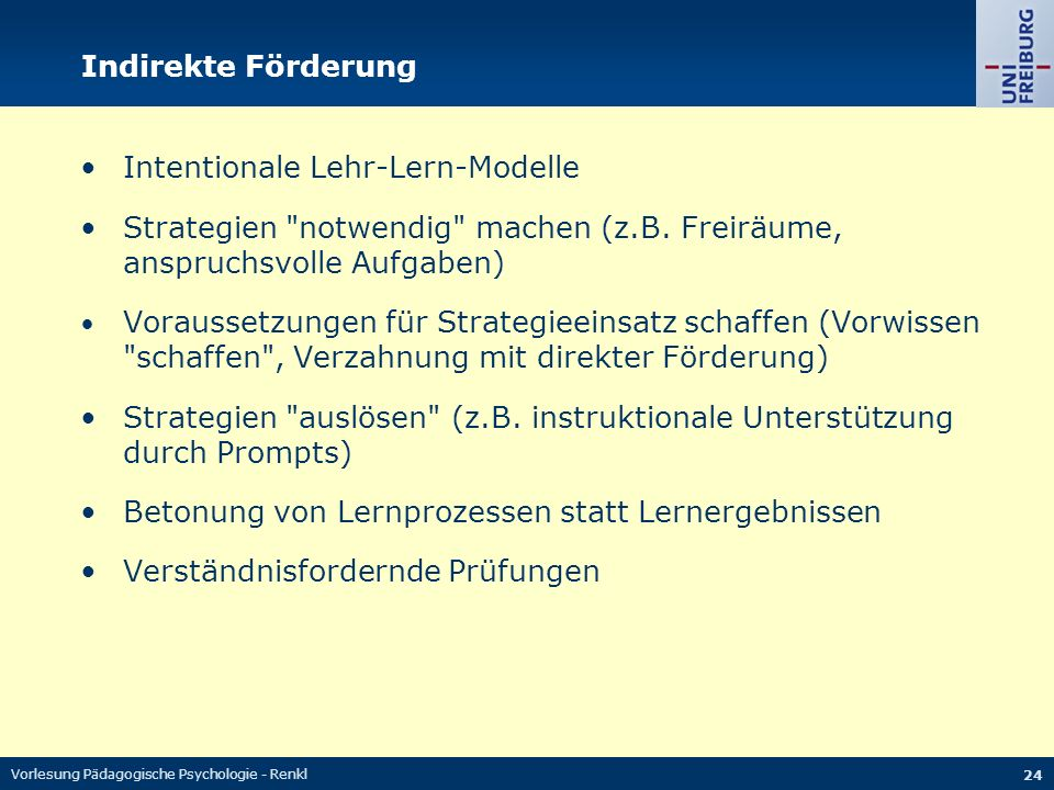 • Intentionale Lehr-Lern-Modelle