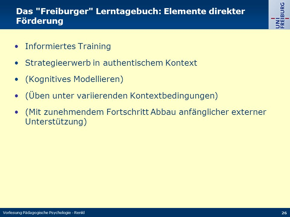 Das Freiburger Lerntagebuch: Elemente direkter Förderung