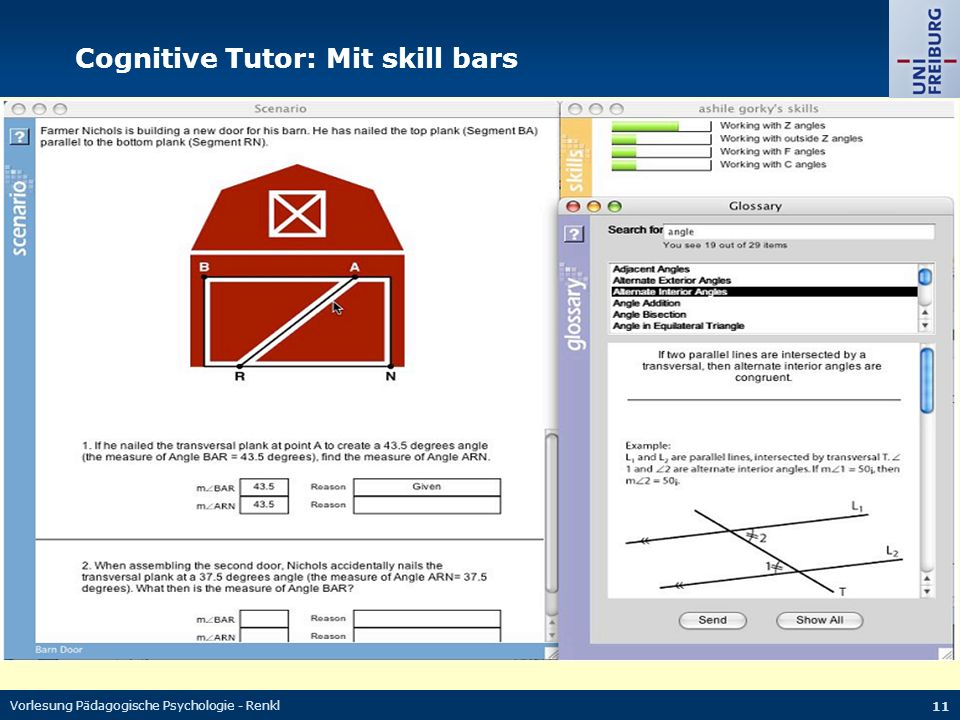 Cognitive Tutor: Mit skill bars