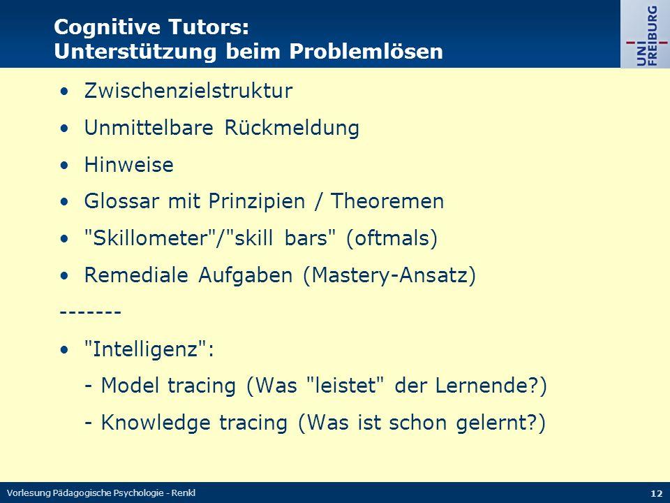 Cognitive Tutors: Unterstützung beim Problemlösen