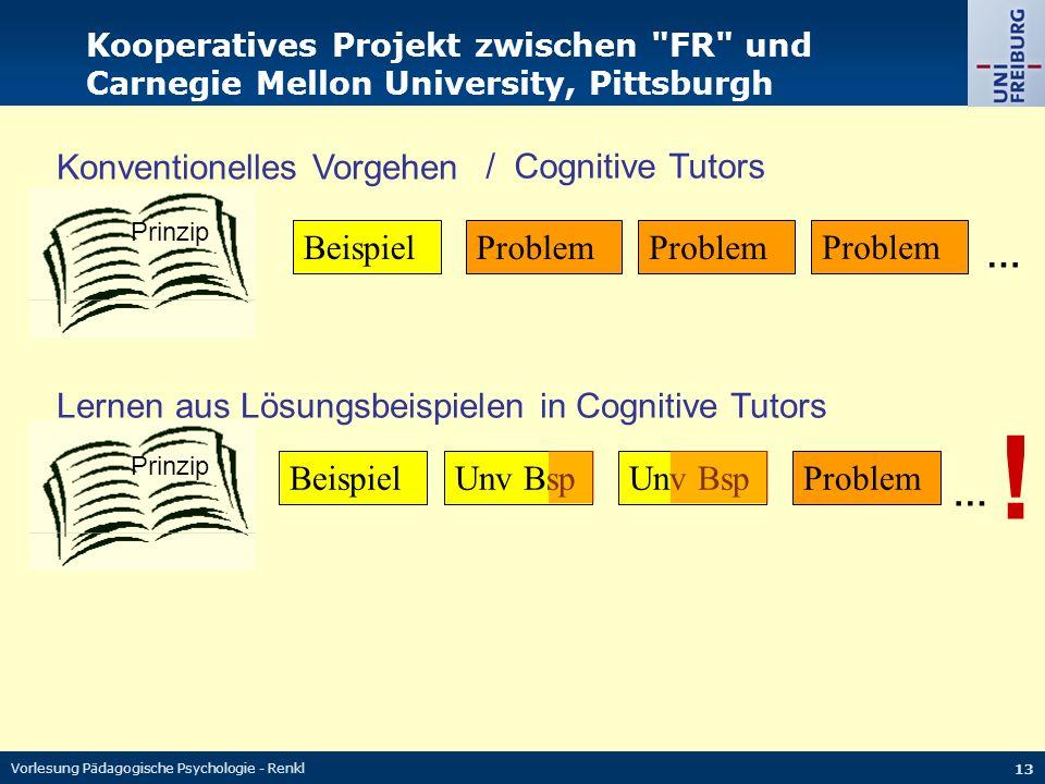 ! Konventionelles Vorgehen / Cognitive Tutors Beispiel Problem Problem