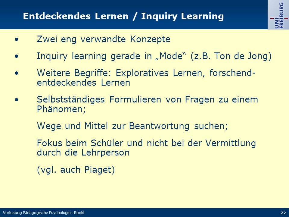 Entdeckendes Lernen / Inquiry Learning