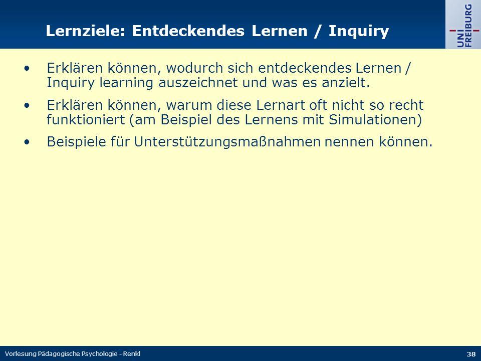 Lernziele: Entdeckendes Lernen / Inquiry