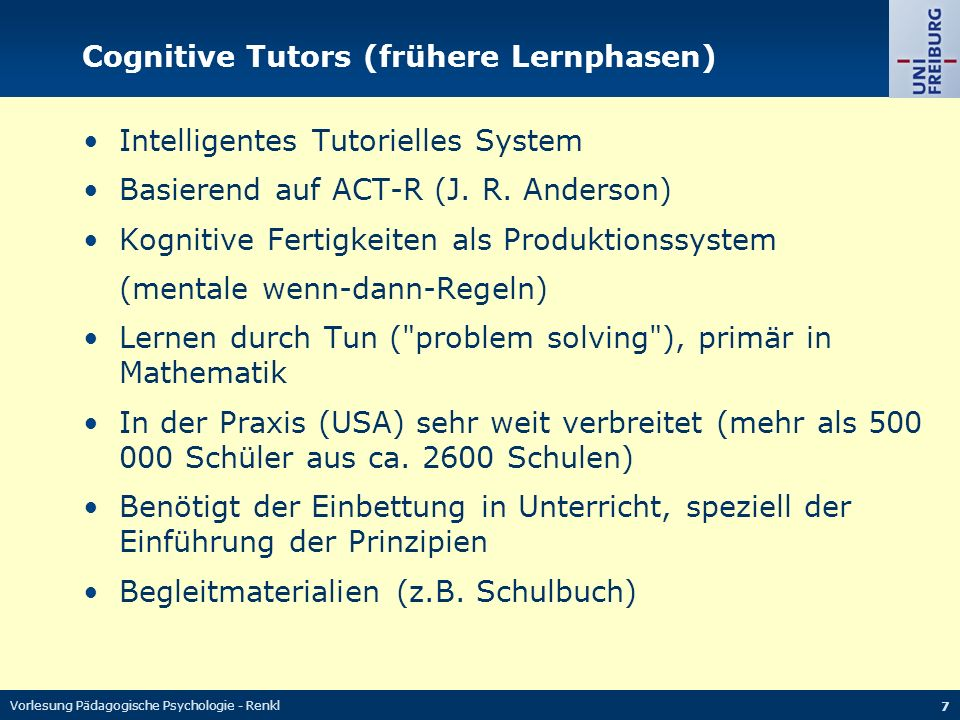 Cognitive Tutors (frühere Lernphasen)