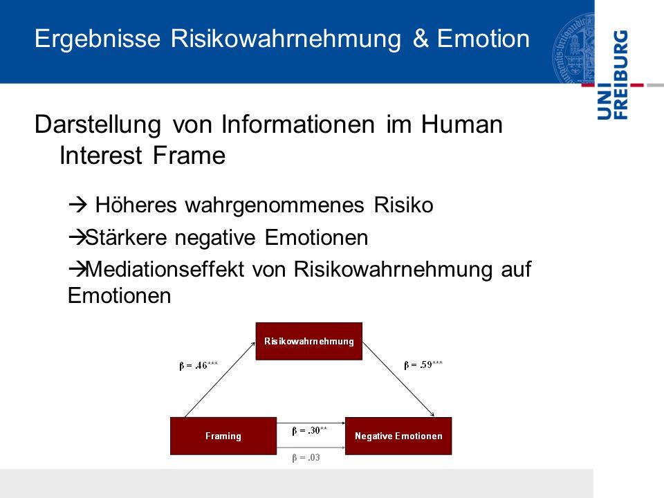 Ergebnisse Risikowahrnehmung & Emotion