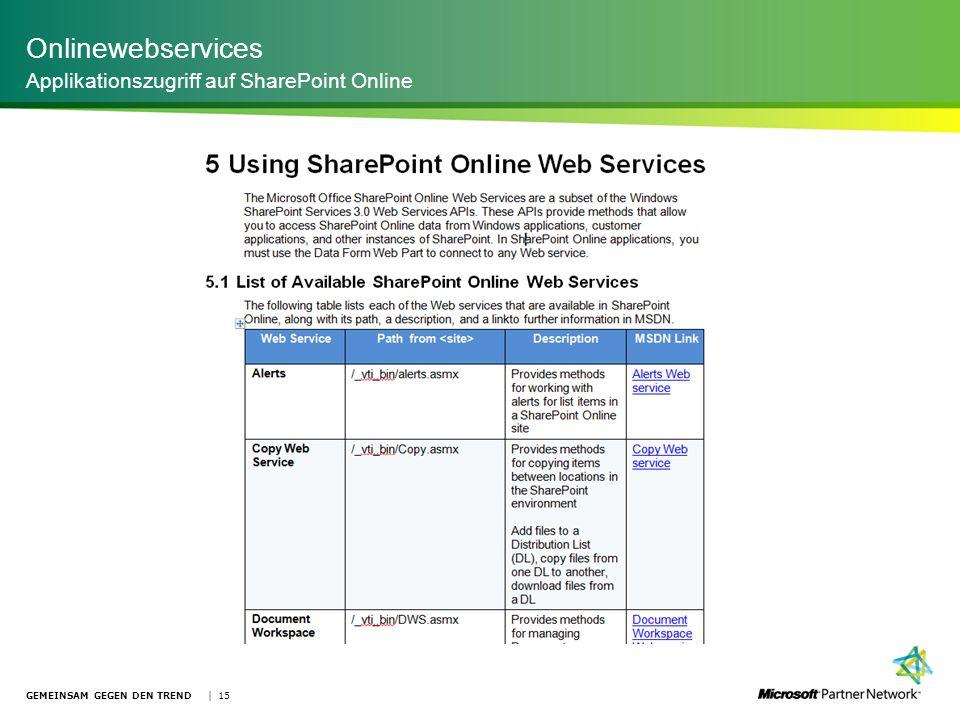 Onlinewebservices Applikationszugriff auf SharePoint Online