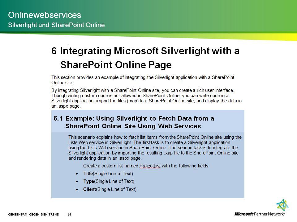 Onlinewebservices Silverlight und SharePoint Online