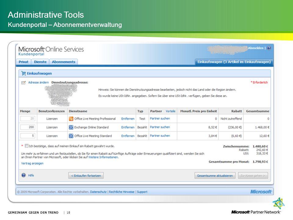 Administrative Tools Kundenportal – Abonnementverwaltung