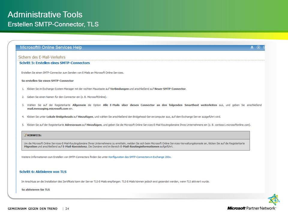 Administrative Tools Erstellen SMTP-Connector, TLS