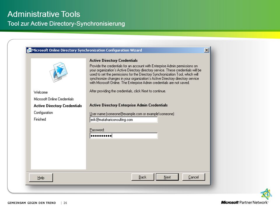 Administrative Tools Tool zur Active Directory-Synchronisierung