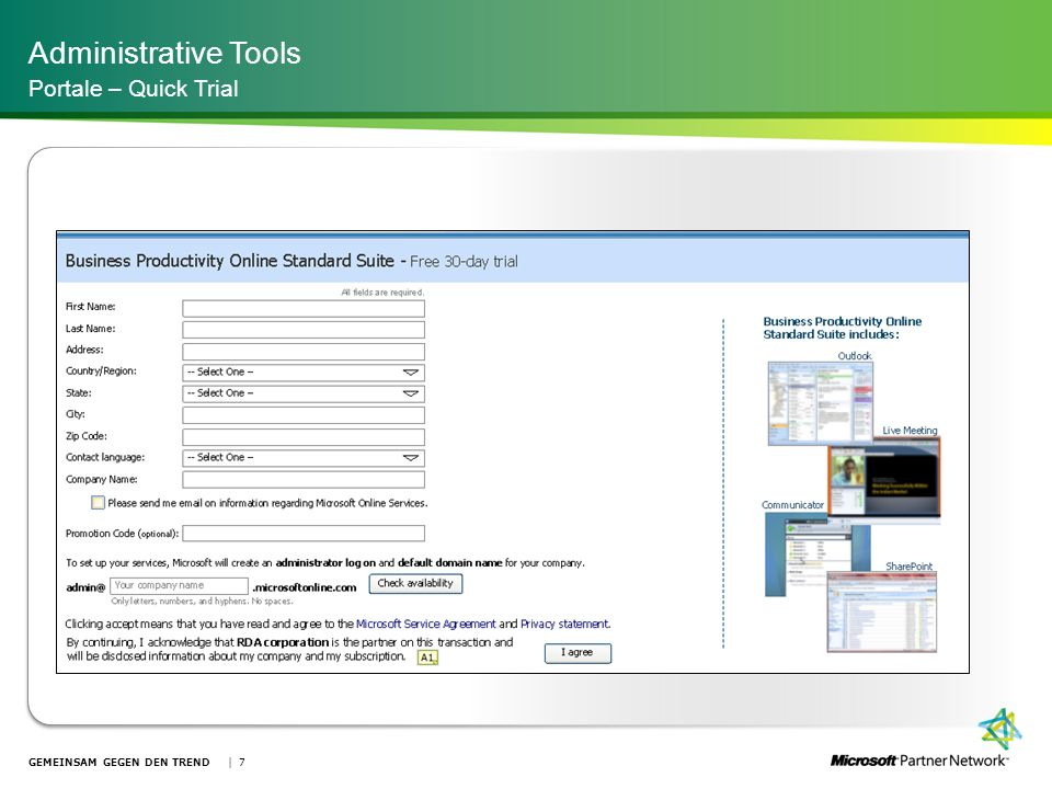 Administrative Tools Portale – Quick Trial