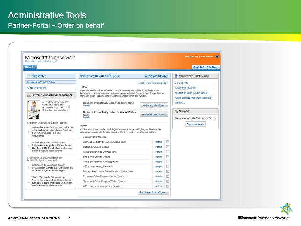 Administrative Tools Partner-Portal – Order on behalf