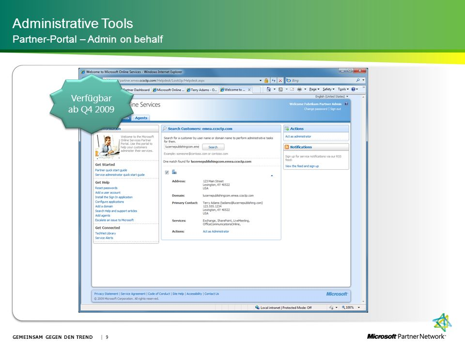 Administrative Tools Partner-Portal – Admin on behalf