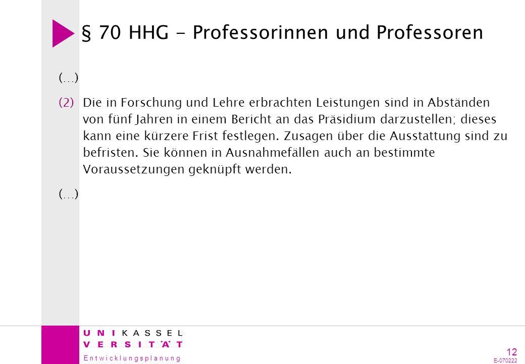 § 70 HHG - Professorinnen und Professoren