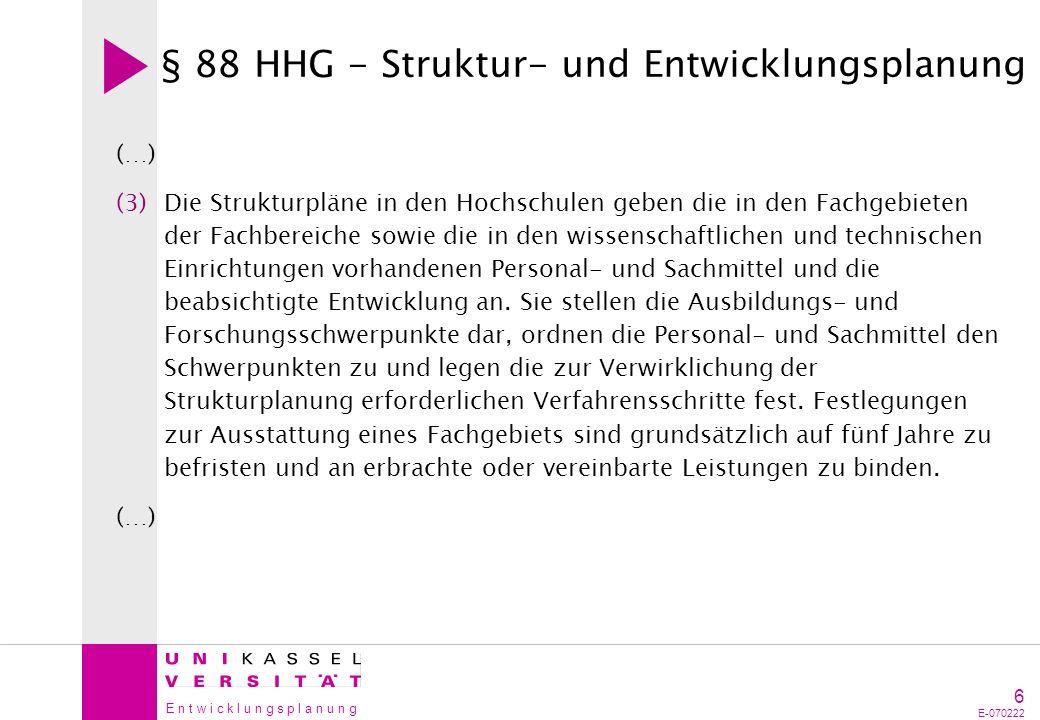 § 88 HHG - Struktur- und Entwicklungsplanung