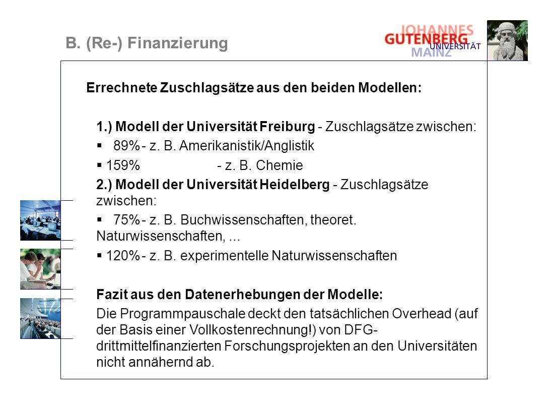 B. (Re-) Finanzierung Errechnete Zuschlagsätze aus den beiden Modellen: 1.) Modell der Universität Freiburg - Zuschlagsätze zwischen: