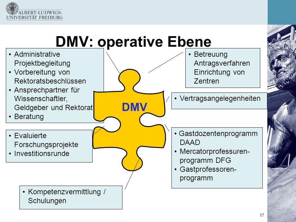 DMV: operative Ebene DMV Administrative Projektbegleitung