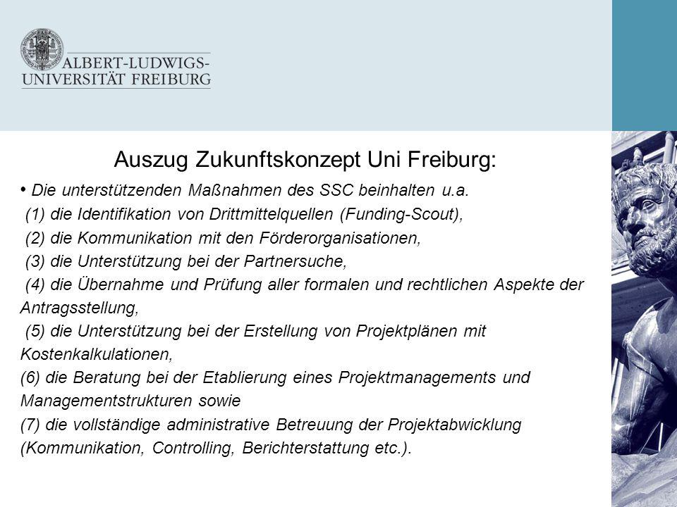 Auszug Zukunftskonzept Uni Freiburg: