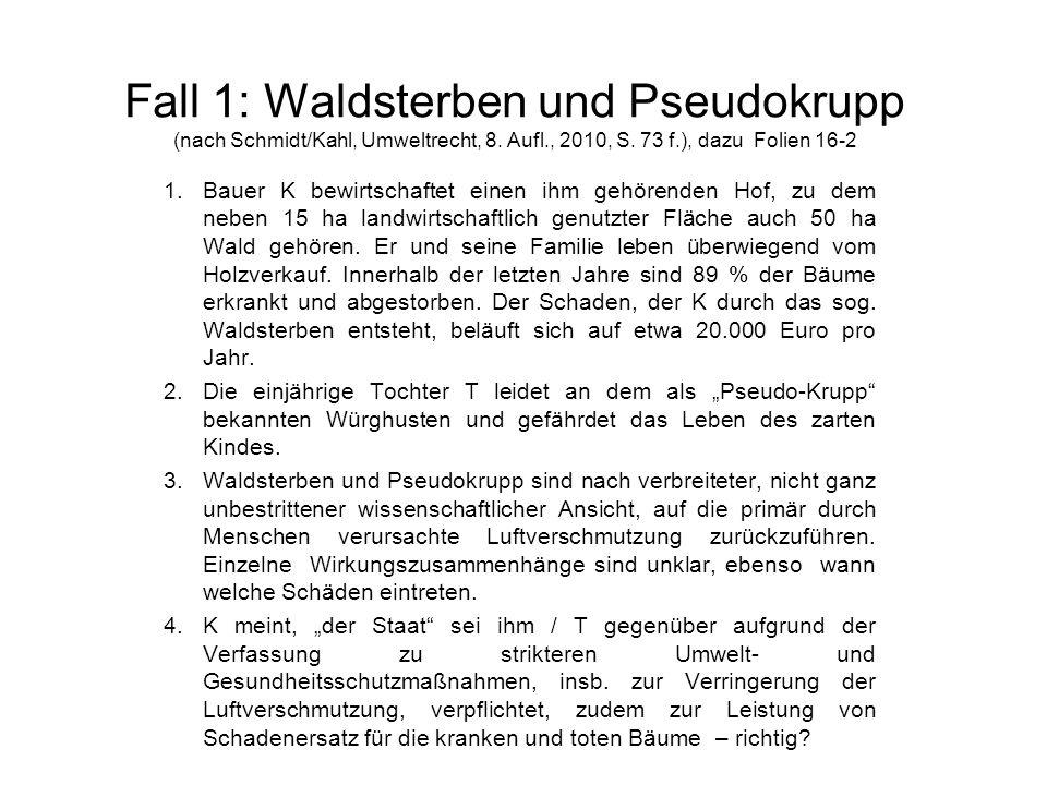 Fall 1: Waldsterben und Pseudokrupp (nach Schmidt/Kahl, Umweltrecht, 8