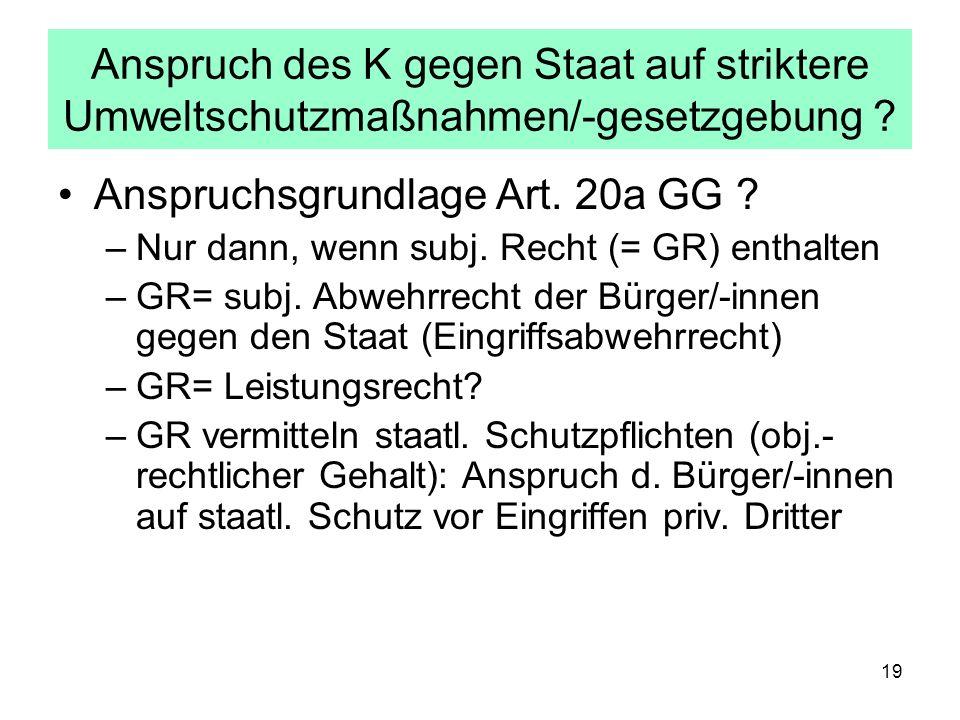 Anspruchsgrundlage Art. 20a GG