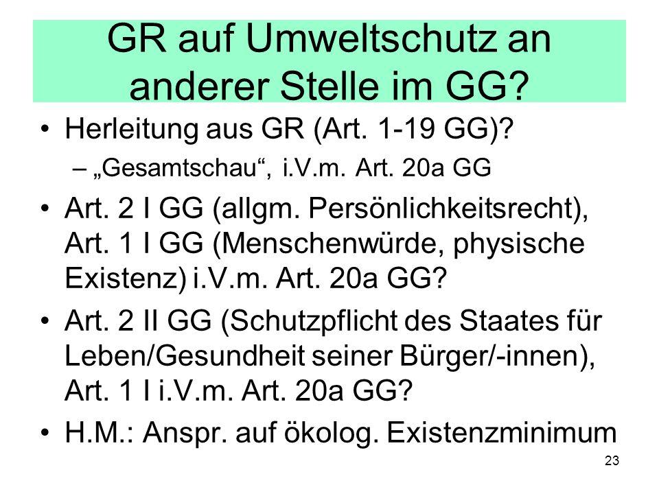 GR auf Umweltschutz an anderer Stelle im GG