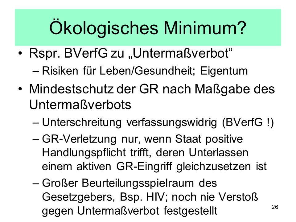 """Ökologisches Minimum Rspr. BVerfG zu """"Untermaßverbot"""