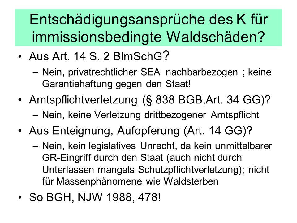 Entschädigungsansprüche des K für immissionsbedingte Waldschäden