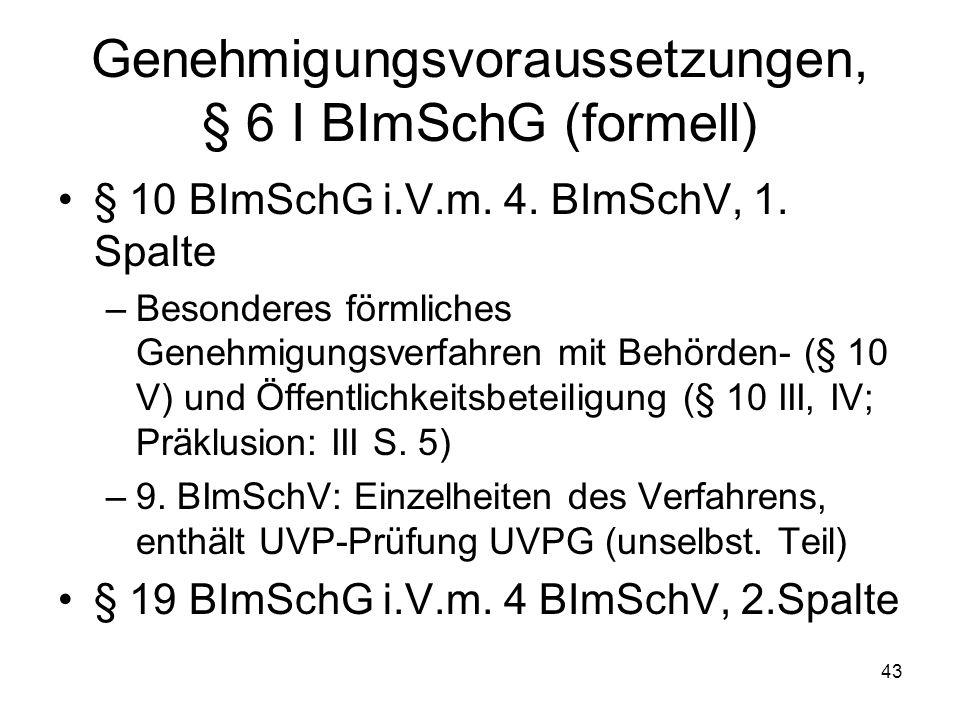 Genehmigungsvoraussetzungen, § 6 I BImSchG (formell)