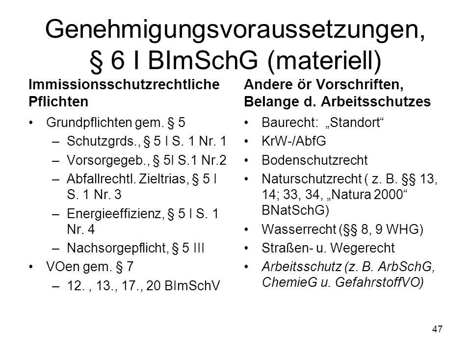 Genehmigungsvoraussetzungen, § 6 I BImSchG (materiell)